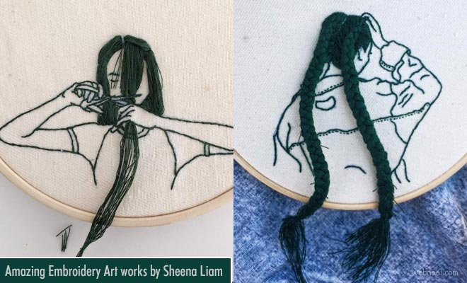 Embroidery Art - Amazing hand sewn hairstyles cascading from Embroidery hoops by SheenaLiam