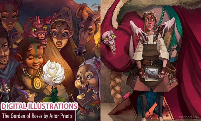 Youth illustrated fantasy world - The Garden of Roses digital art by Aitor Prieto