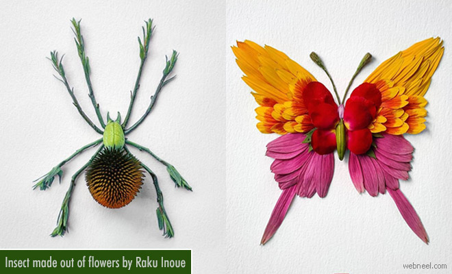 Insect made out of arranged flowers by Raku Inoue - Creative Art ideas