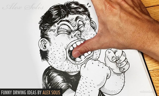 Fight with their own creator - Funny Drawing ideas by Alex Solis