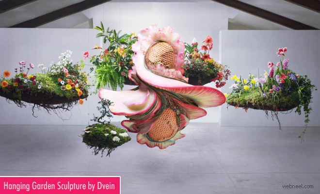 Hanging Garden Sculpture with stunning blooms by Dvein