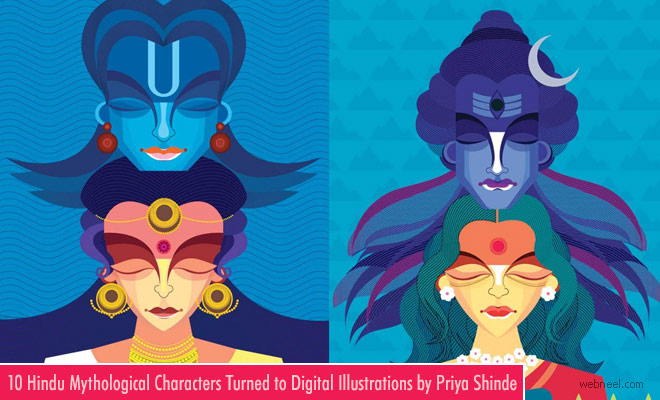 10 Vibrant Digital Illustration Art works with Hindu Mythical Gods by Priya Shinde