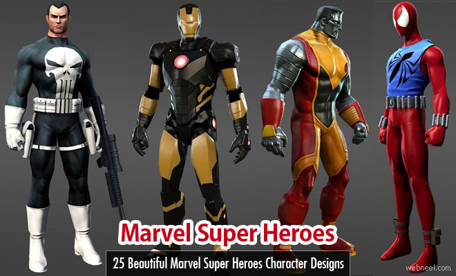 25 Beautiful Marvel Super Heroes Character Designs and 3D Models