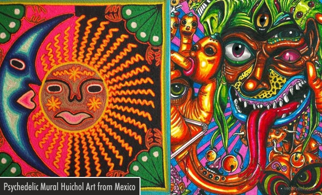 Psychedelic and Stunning Massive Mural Huichol Art from Mexico