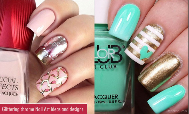 Glittering chrome Nail Art ideas and designs