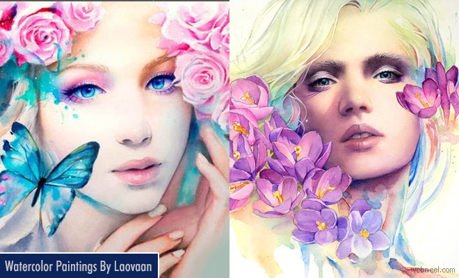 Beautiful and Vibrant Watercolor Paintings and Mixed Media by Laovaan