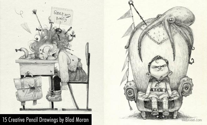 15 Funny and Creative Pencil Drawings by Russian Artist Blad Moran
