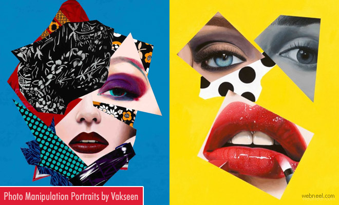 Vibrant and Eye Popping Photo Collage Portraits by Vakseen