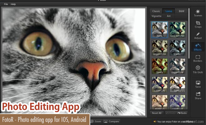 FotoR - A free photo editing, sharing app for IOS and Android Phones