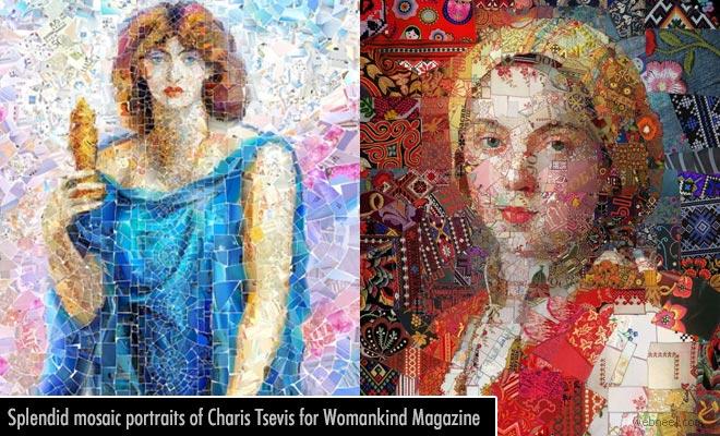 Splendid Digital Artworks and mosaic portraits of Charis Tsevis for Womankind Magazine