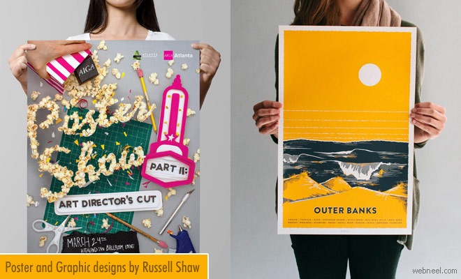 Colorful Poster Designs and Graphic Design works by Russell Shaw