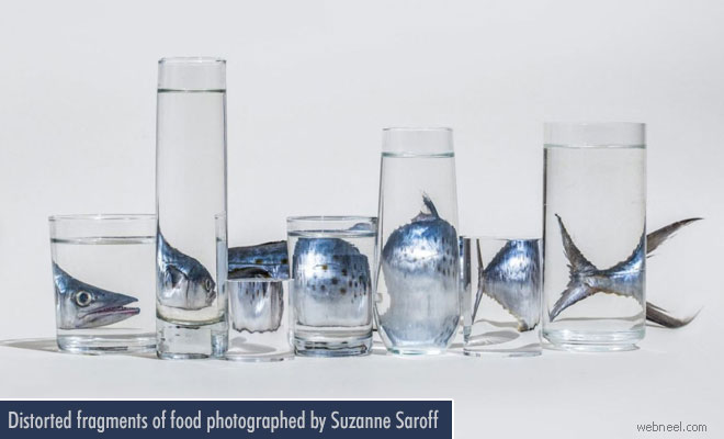 Distorted fragments of food photographed by Suzanne Saroff - Reflection Photography