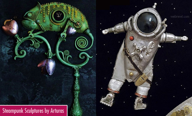 Extraordinary Steampunk Scrap Sculptures by lithuanian artist Arturas