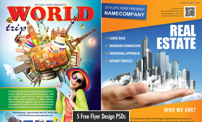 Free Download 5 Beautiful Flyer Design PSD Source files by StyleFlyer