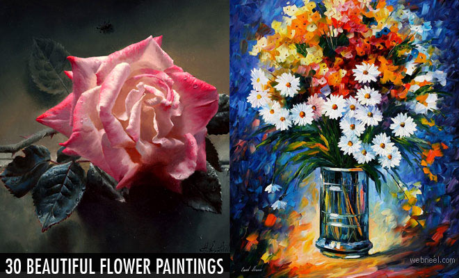 30 Beautiful and Realistic Flower Paintings for your inspiration