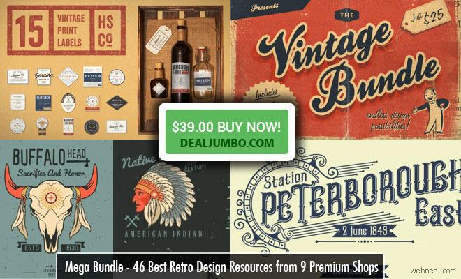 46 Best Retro/Vintage Design Resources from Premium Shops - Mega Bundle Vol 2