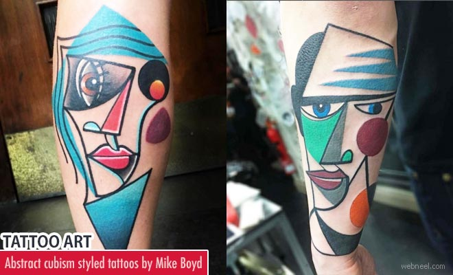 Mike Boyd abstract cubism styled Tattoos bring life to Picasso Art