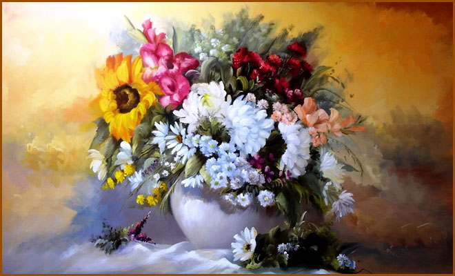 20 Beautiful Bouquets on Canvas - Oil Paintings by Szechenyi Szidonia