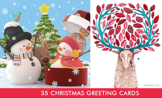 35 Beautiful Christmas Greeting Card Designs and Graphic Resources