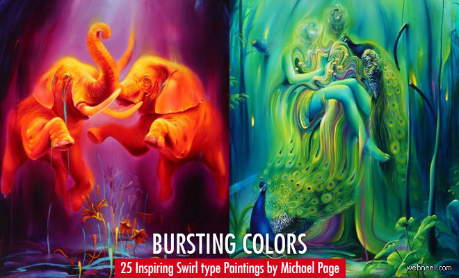 Bursting colors - 25 Inspiring Swirl type Paintings by Michael Page
