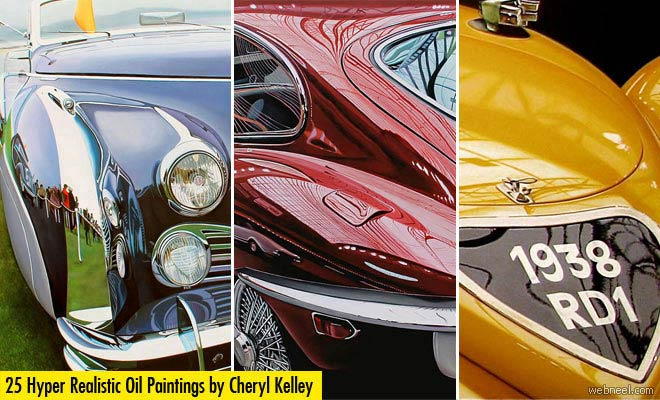 25 Extraordinary Hyper Realistic Car themed Oil Paintings by Cheryl Kelley