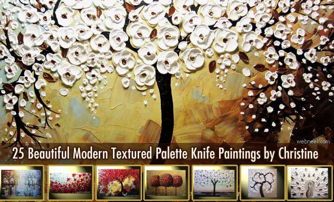 25 Beautiful Modern Textured Palette Knife Paintings by Christine Krainock