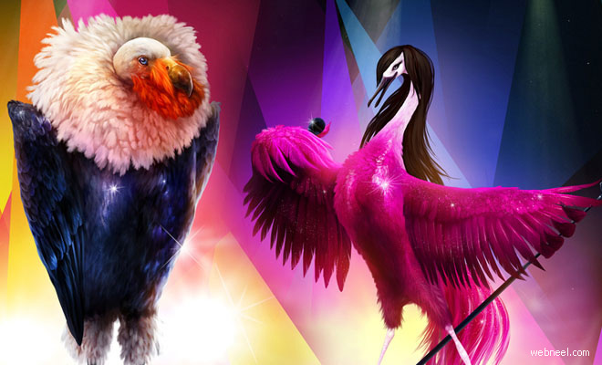 Creative Graphic Concept and Print Ads    Eurovision Song Birds