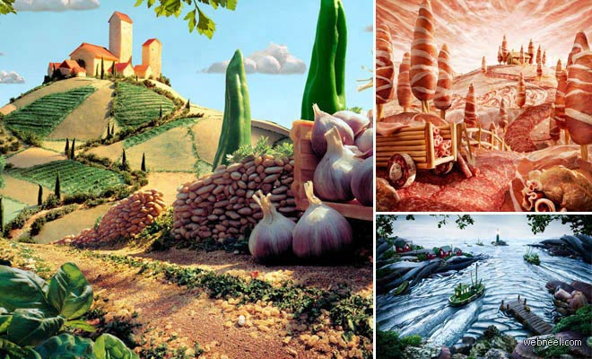 20 Mind Blowing Foodscapes Photo Collage works by Carl warner