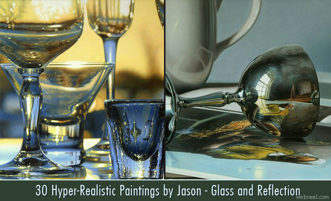 30 Hyper-Realistic Acrylic Paintings by JasondeGraaf - Glass and Reflection