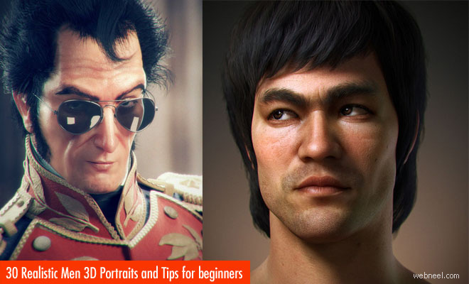 30 Realistic Men 3D Portraits and Creative 3D Character Designs