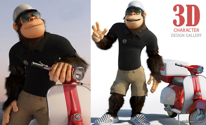 Monkey The Pizza Boy - Best 3D Animation and Character Design Collections