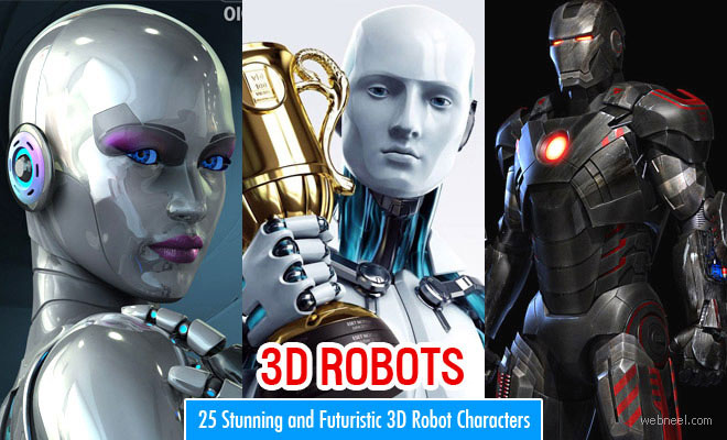 25 Stunning and Futuristic 3D Robot Character designs for your inspiration