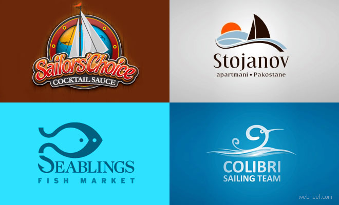 40 Creative Sailing and Sea themed Logo Design examples for your inspiration