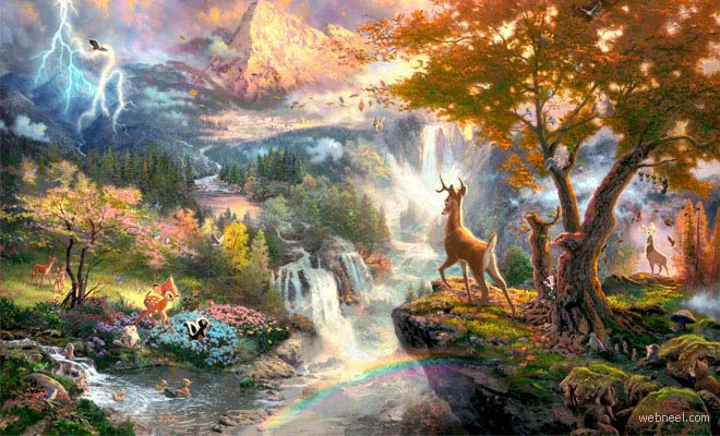 15 Mind Blowing Disney Paintings by Thomas Kinkade - The Painter of Light