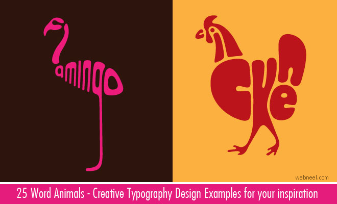 Creative Word Animal Typography Designs by Dan Fleming