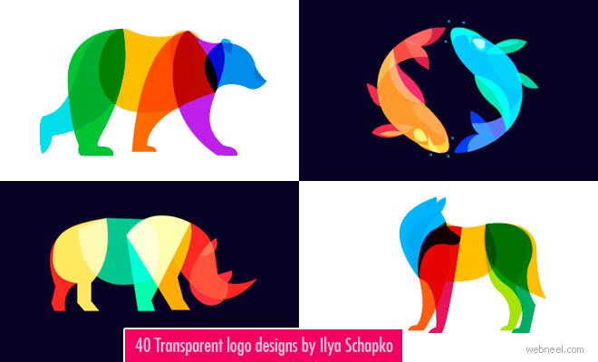 40 Transparent and Blend mode Logo designs by Ilya Schapko