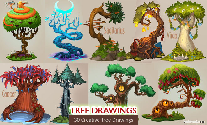 30 Beautiful Tree Drawings and creative Art works from top artists - part 2