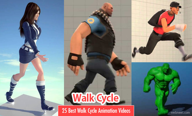25 Best Walk Cycle Animation Videos and keyframe illustrations