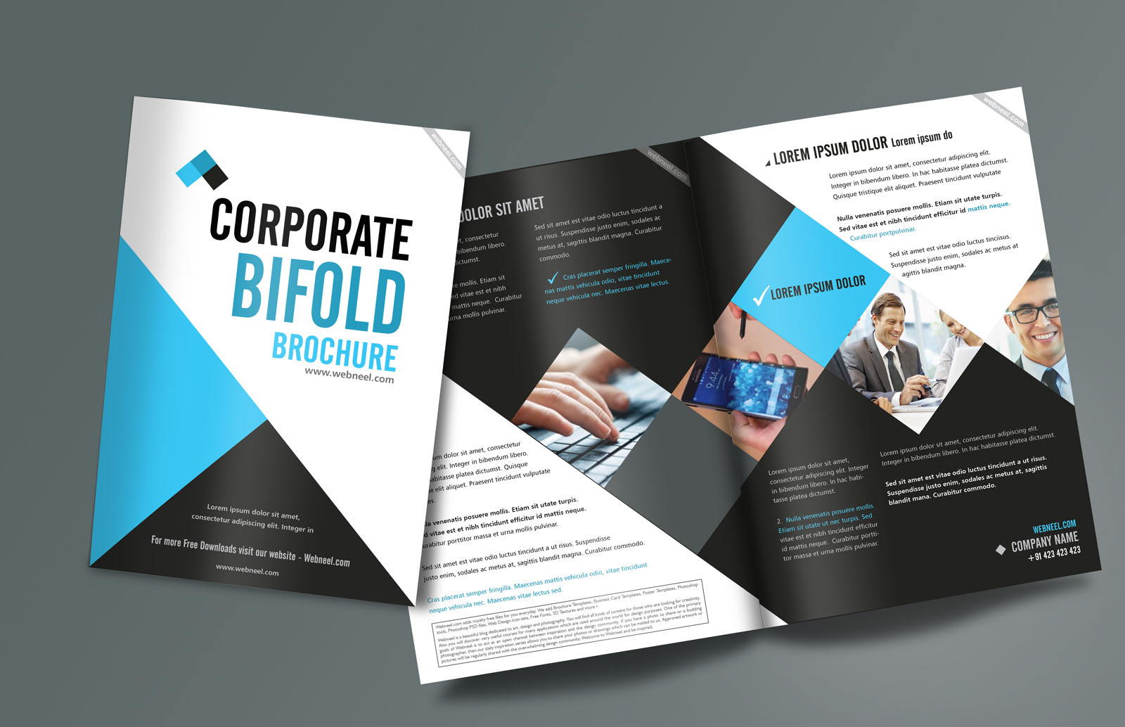 Corporate BiFold Brochure Design Templates Freedownload Printing - Company brochure templates free download