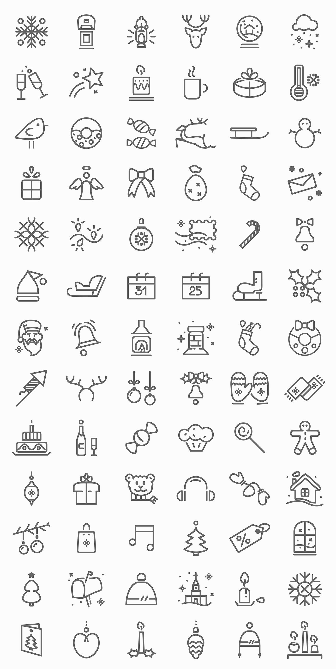 free christmas icon set design