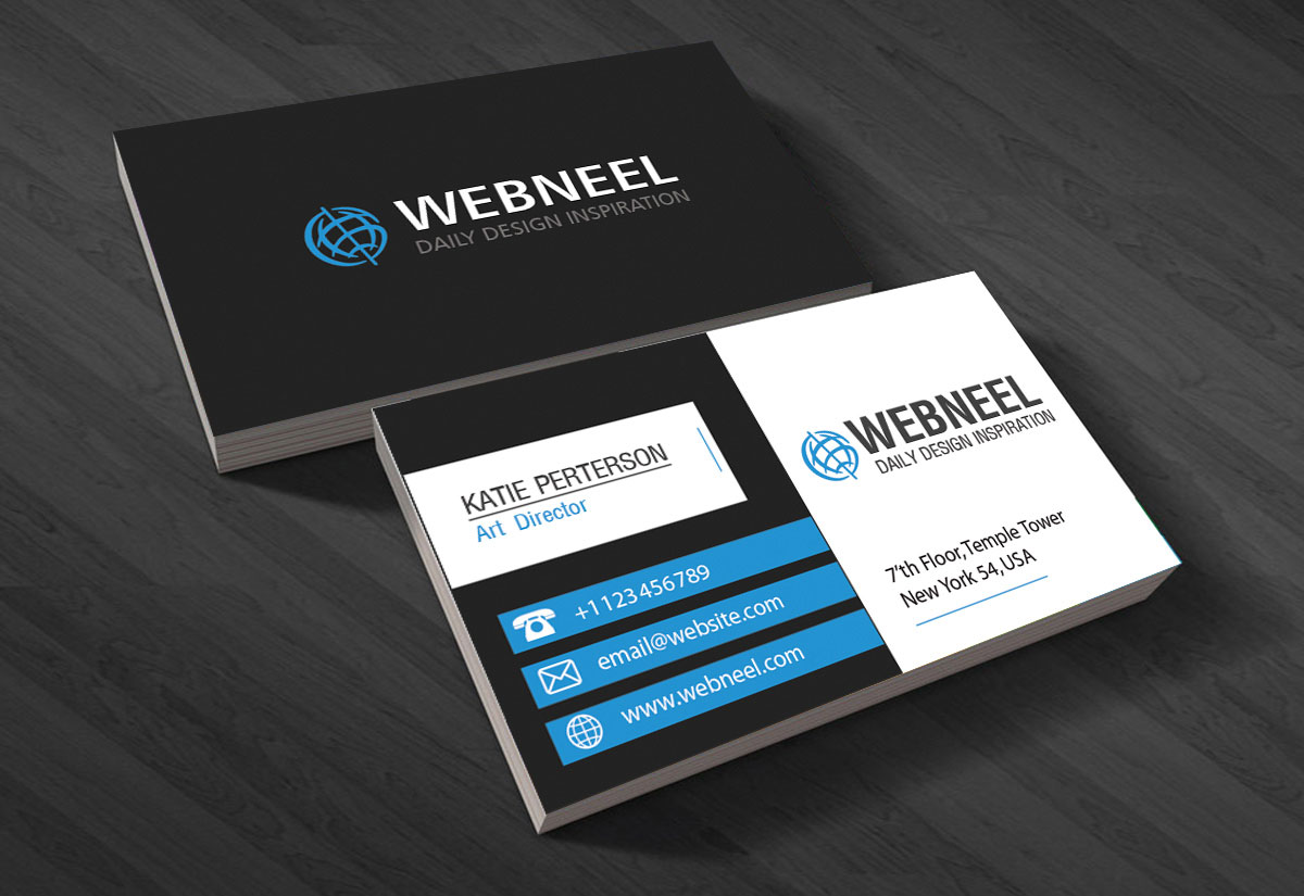 Black business card template   free download