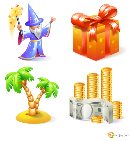 4 Free icons magician gift tree money