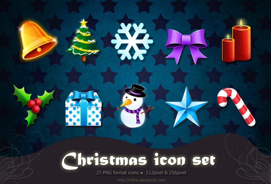 Christmas icon set design by mkho