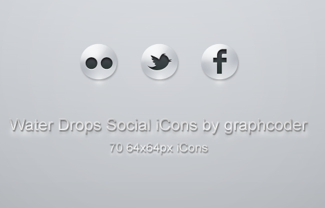 70 water drops social icons   PSD