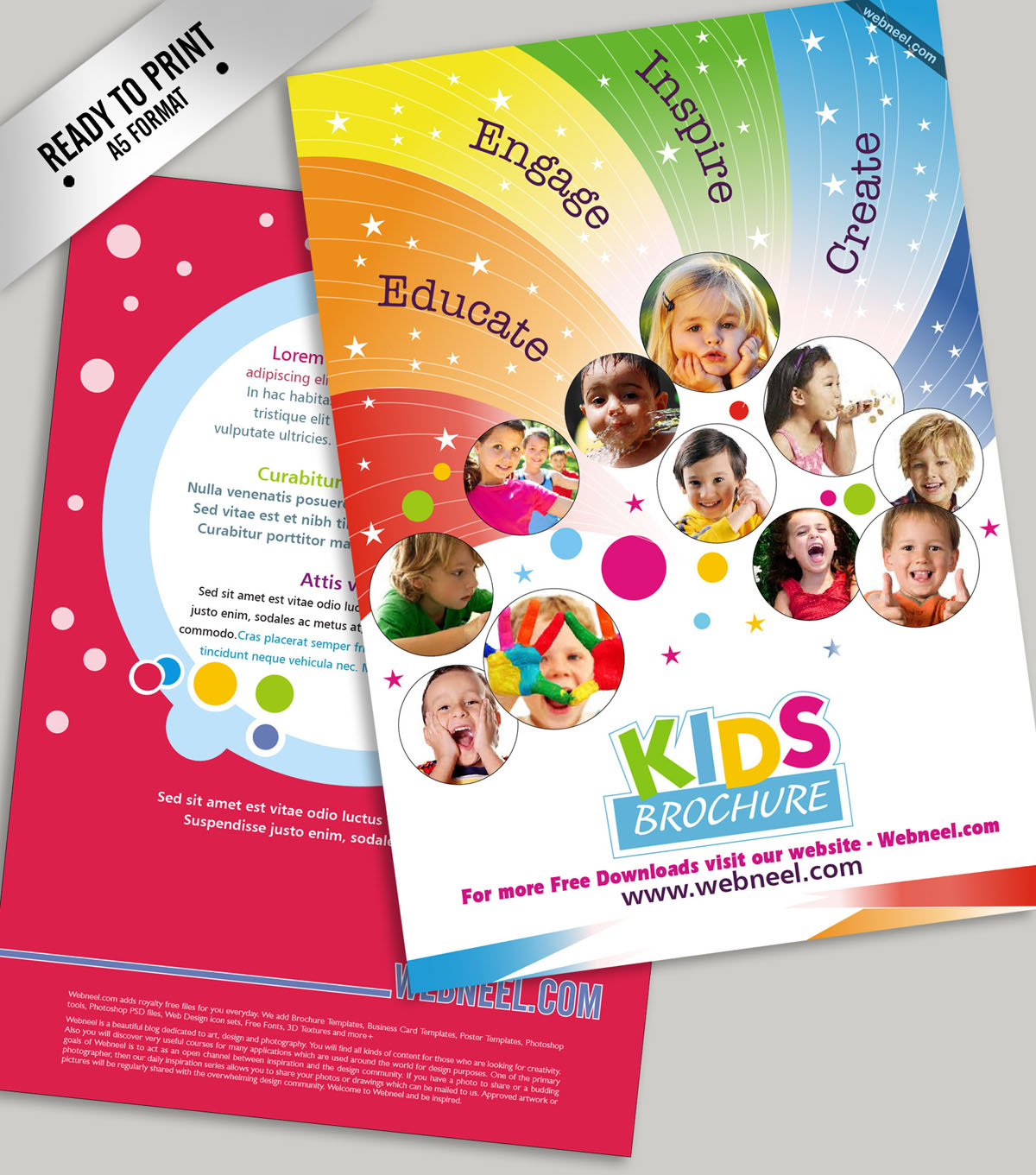 8 education kids colorful bifold brochure template for Free brochure templates for kids