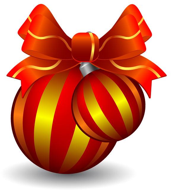 Christmas Balls Ribbon   Vector EPS