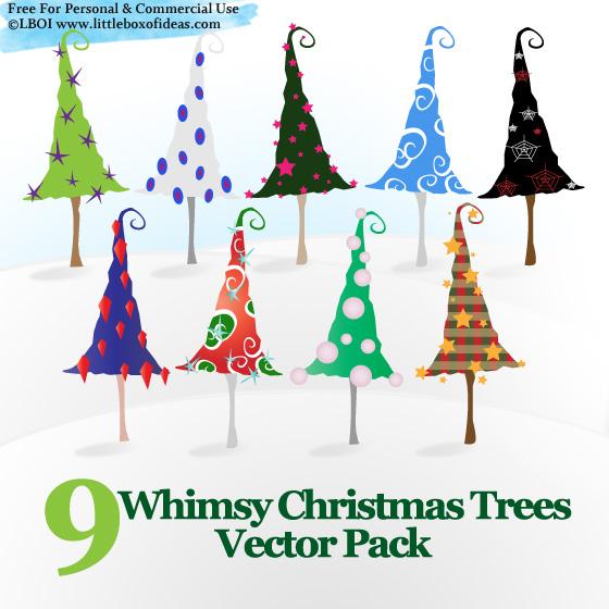 9 Whimsy Christmas Trees vector Pack EPS