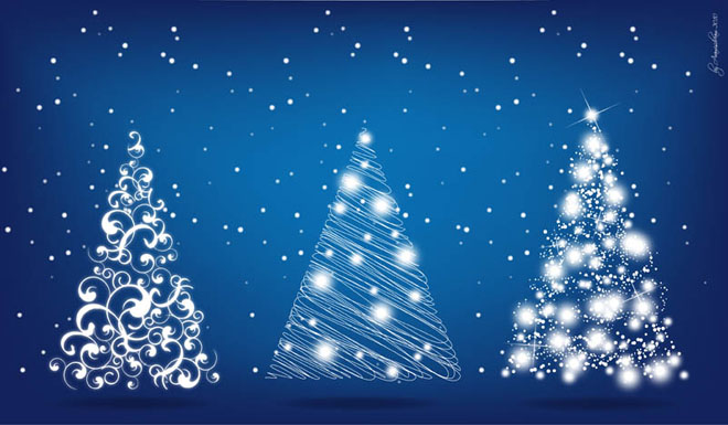 3 Christmas Tree Floral Design Vector EPS - Freedownload ...