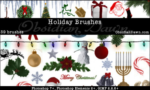 Holiday Christmas and Hannukah   Photoshop and GIMP Brushes