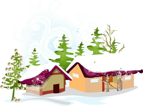 Christmas snow house   vector